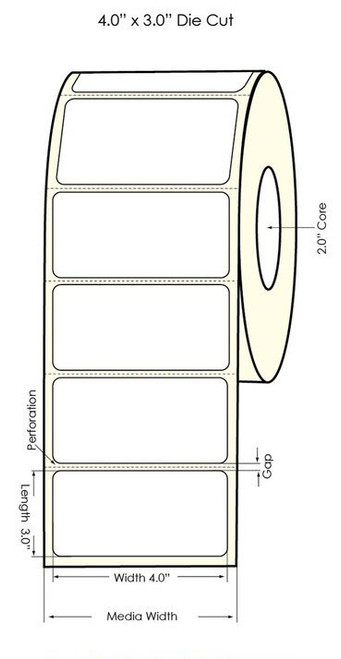 """Primera LX400 4""""x3"""" Silver Polyester Labels 600/Roll"""