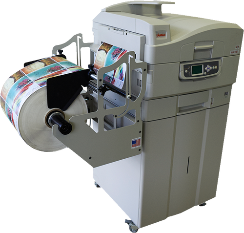 Sys Label Apex 1290 Pro Rewinder with Slitters attached to Apex 1290 Press