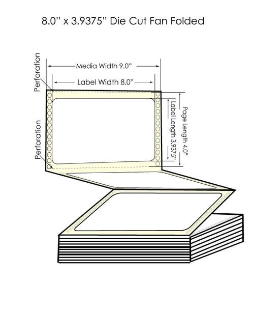 "GP-C831 8"" x 3.9375"" High Gloss Paper Labels 2550/Carton (801011)"