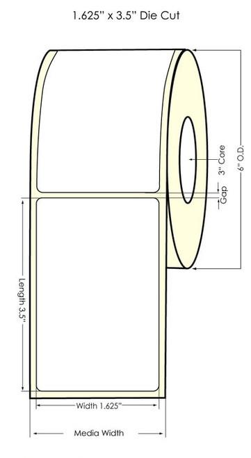 "Memjet 1.625""x3.5"" NP Glossy BOPP Labels 700/Roll"