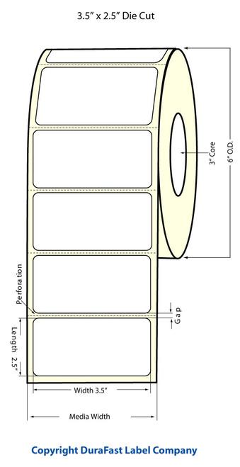 "3.5"" x 2.5"" High Gloss Inkjet Label Roll - 950/Roll"