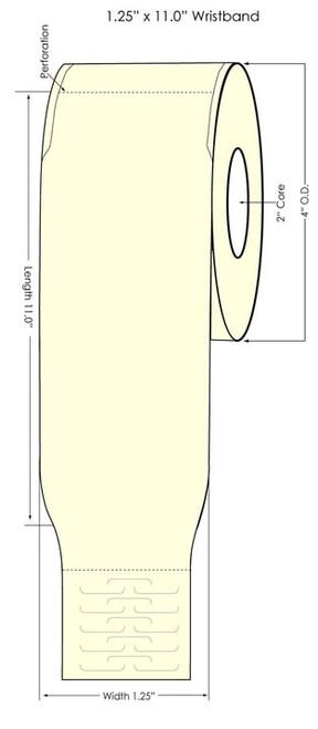 "Epson TM-C3500 1.25"" x 11"" Wristband 125/Roll"