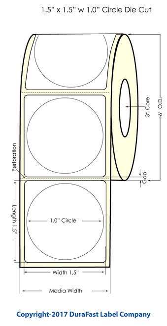 "Primera LX900 1"" Circle Glossy Polypropylene BOPP Labels"