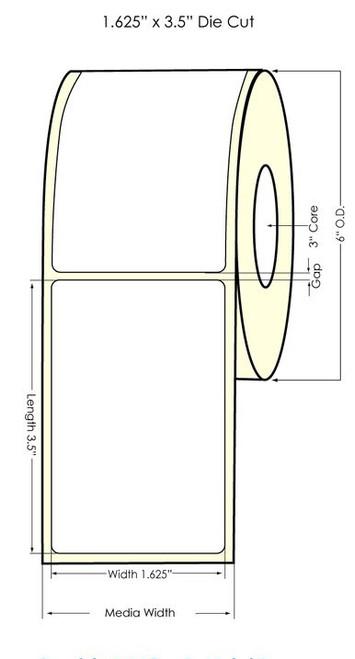 "Memjet 1.625"" x 3.5"" NP Glossy Polypropylene Labels 700/Roll"