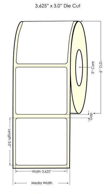 "Memjet 3.625"" x 3"" NP Glossy Polypropylene Labels 700/Roll"