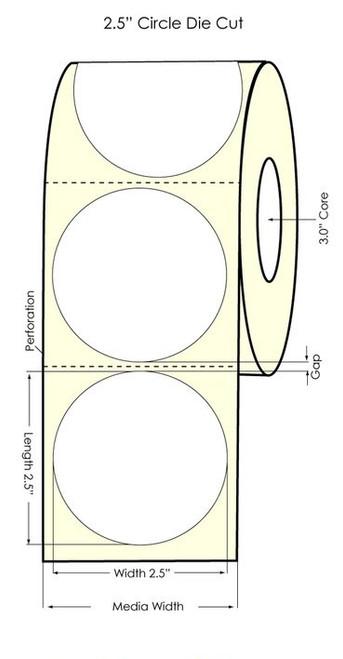 """2.5"""" Circle Inkjet Glossy Polypropylene Label 880/Roll"""