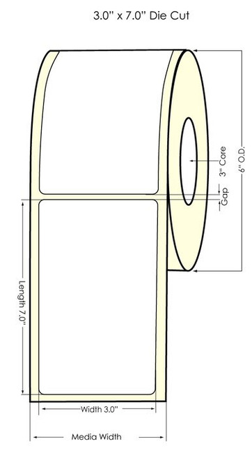 "3"" x 7"" NP Matte Polypropylene Inkjet Printable Labels -350 /Roll"