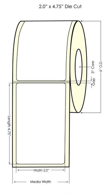 "2"" x 4.75"" NP Matte Polypropylene Inkjet Printable Labels 500/Roll"