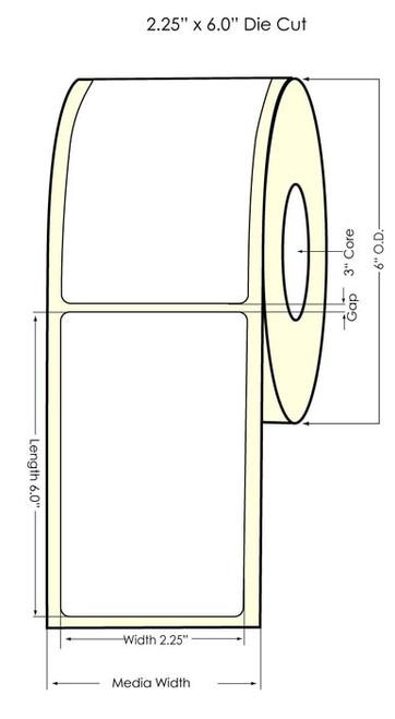 "2.25"" x 6"" NP Matte Polypropylene Inkjet Printable Labels 400/Roll"