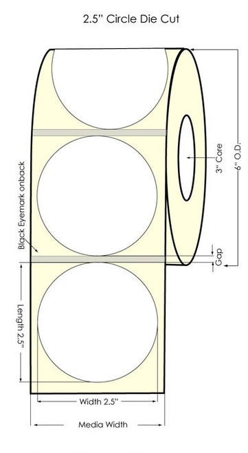 "Inkjet 2.5"" Circle Glossy Silver Polyester Label 900/Roll w black eyemark"