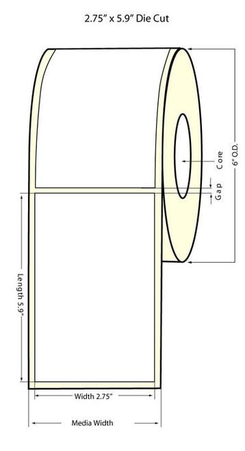 "Inkjet 2.75""x5.9"" NP Square Corners High Gloss Paper Labels"