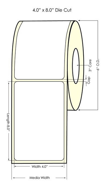 "Inkjet 4""x8"" (0.25 gap) High Gloss Paper Labels"