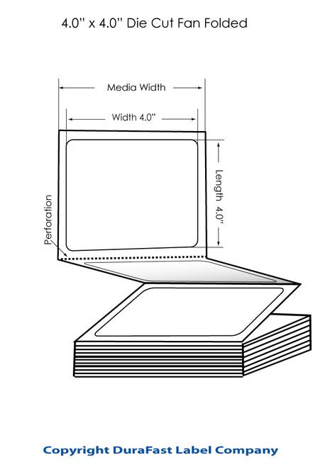 """Inkjet 4""""x4"""" Matte Polypropylene Labels w Removable Adhesive FF 2000/Carton"""