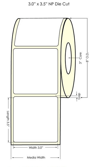"Inkjet 3""x3.5"" NP Matte Polypropylene Labels"