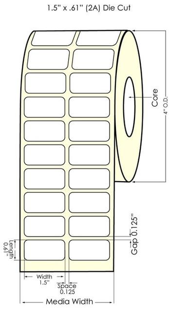 """Epson TM-C3500 1.5"""" x 0.61"""" NP 2UP Matte BOPP Labels"""