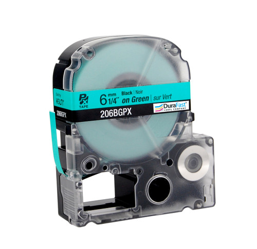 """Epson 206BGPX 1/4"""" Green Glossy Polyester Label PX Tape"""