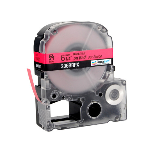 "Epson 206BRPX 1/4"" Red Glossy Polyester Label PX Tape"