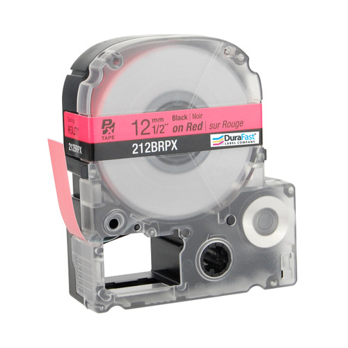 """Epson 212BRPX 1/2"""" Red Glossy Polyester Label PX Tape"""