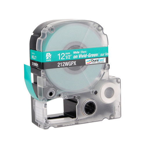 "Epson 212WGPX 1/2"" Green Glossy Polyester Label PX Tape"