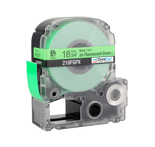 """Epson 218FGPX 3/4"""" Green Glossy Flourescent Label PX Tape"""