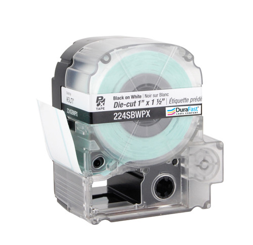 """Epson 224SBWPX 1 1/2"""" x 1"""" White Glossy Die-Cut Label PX Tape"""