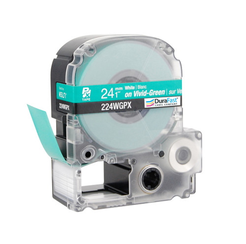 "Epson 224WGPX 1"" Green Glossy Polyester Label PX Tape"