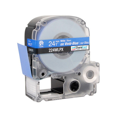 """Epson 224WLPX 1"""" Blue Glossy Polyester Label PX Tape"""