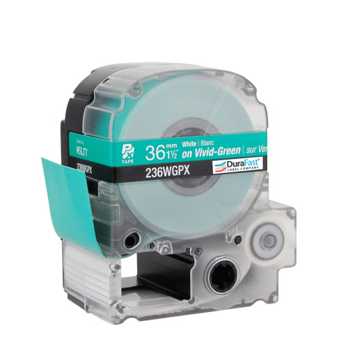 """Epson 236WGPX 1 1/2"""" Green Glossy Polyester Label PX Tape"""