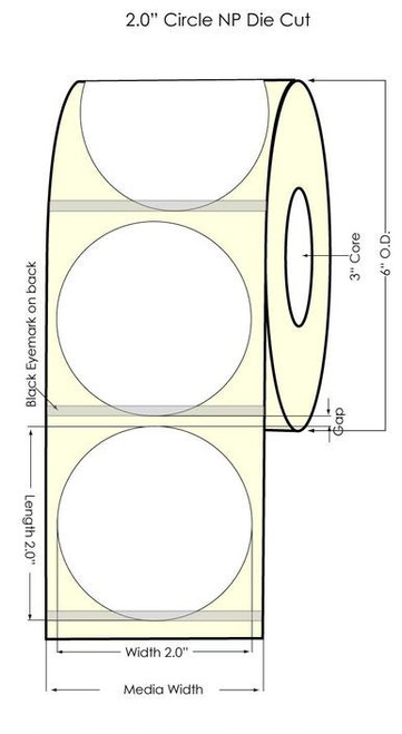 """Inkjet 2"""" NP Circle Glossy BOPP w Matrix ON 1200/Roll"""