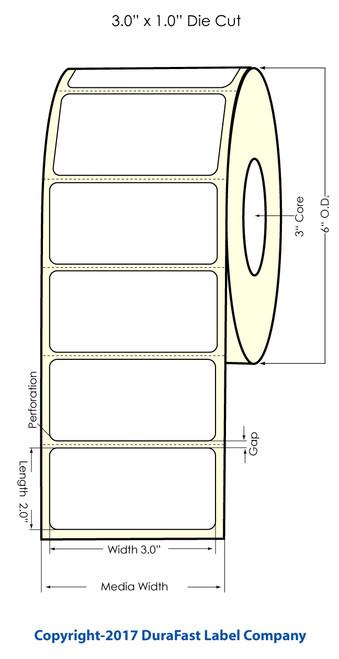 """Inkjet 3""""x2"""" Glossy BOPP Labels 1100/Roll"""