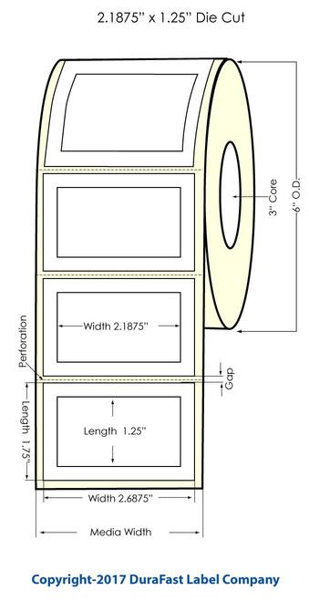 Inkjet 2.1875x1.25 Inch Matte Paper Labels 1400/Roll (932022)