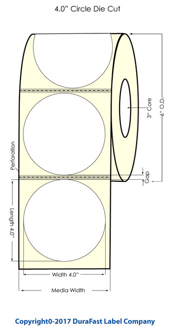 "Epson TM-C7500 4"" Circle High Gloss Label Roll / 600/Roll"