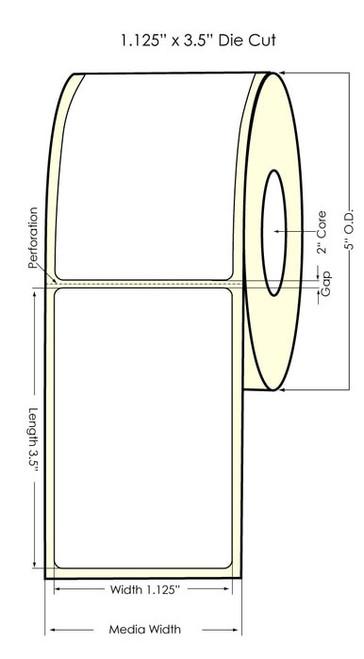 Seiko SLP620/650 1.125 x 3.5 White Removable Labels SLP-R2RL