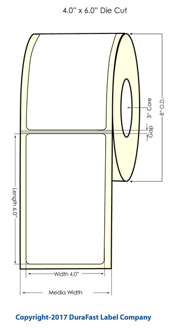 """TM-C7500 4"""" x 6"""" NP Matte Inkjet Labels 8"""" OD"""