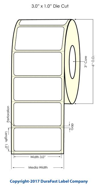 """Primera LX900 3""""x1"""" Glossy BOPP Labels 2100/Roll"""