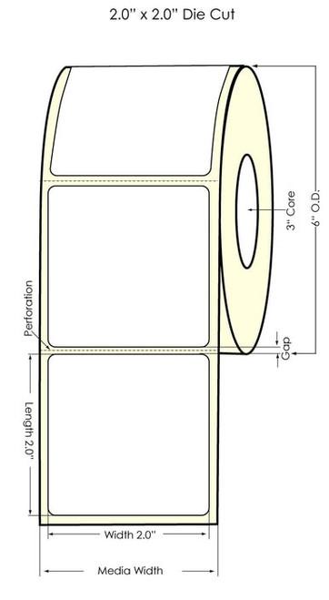 """Primera LX900 2""""x2"""" Matte BOPP Labels 1100/Roll"""