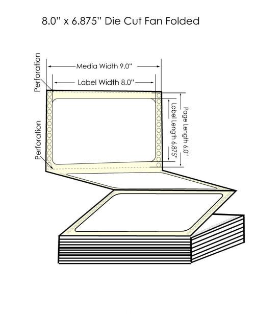 """DuraFast 8"""" x 6 7/8"""" Matte Labels   1700 Labels/Carton"""