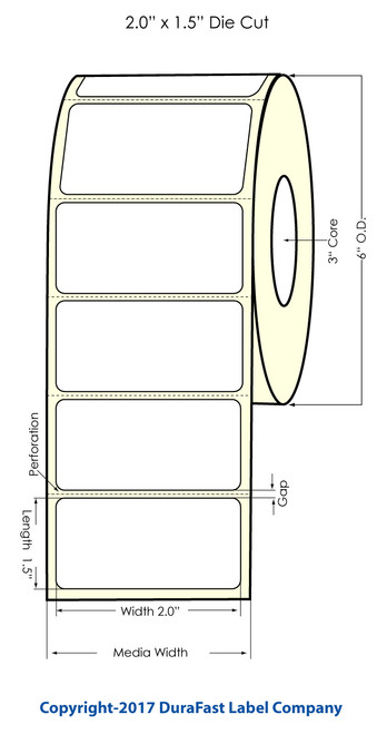"""Inkjet 2""""x1.5"""" Glossy Polypropylene Label 1600/Roll"""