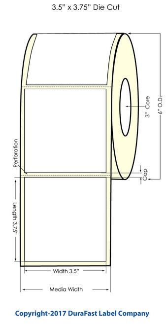 "DuraFast 3.5"" x 3.75"" Inkjet High Gloss Paper Labels 680/Roll Square Corners (931041)"