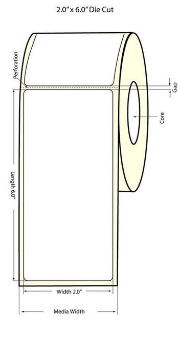 """Primera LX900 2""""x6"""" Matte BOPP Labels 375/Roll (933004)"""