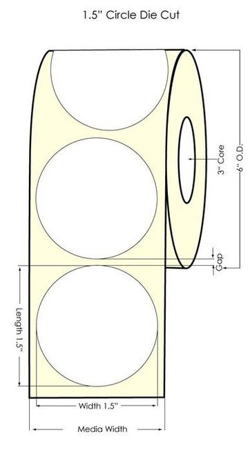 "Primera LX900 1.5"" Circle NP Glossy BOPP 1225 Labels/Roll (934030)"