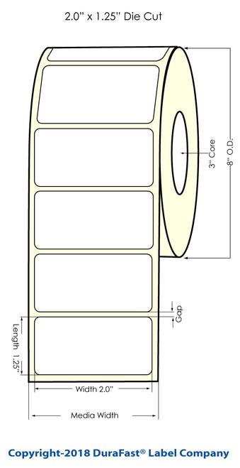 "TM-C7500G 2"" x 1.5"" NP Glossy BOPP Label 3200/Roll"