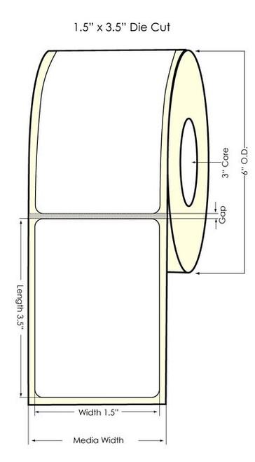"DuraFast 1.5""x3.5"" NP Glossy BOPP | 700 labels/roll (934034)"