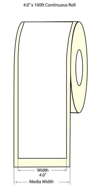 "TM-C3500 4"" x 100 ft High Gloss Paper Label Roll (811004)"