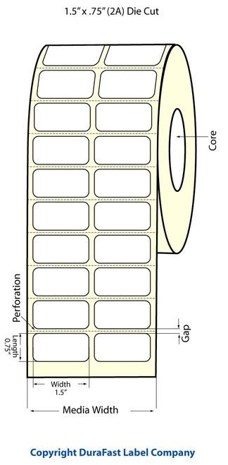 "TM-C3500 1.5"" x .75"" (2A) High Gloss Paper Label 2750/Roll (811007)"