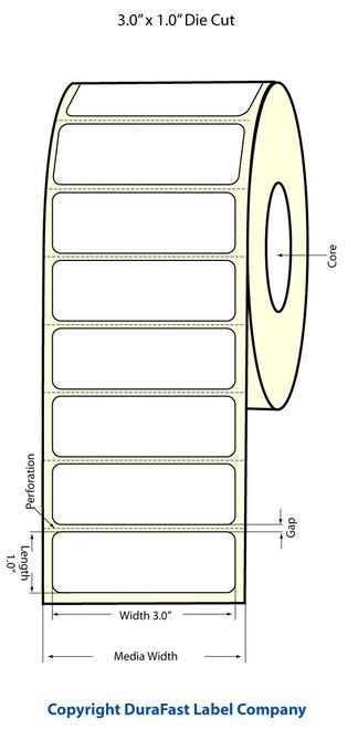 "TM-C3500 3"" x 1"" (1A) High Gloss Paper Label 1070/Roll (811013)"