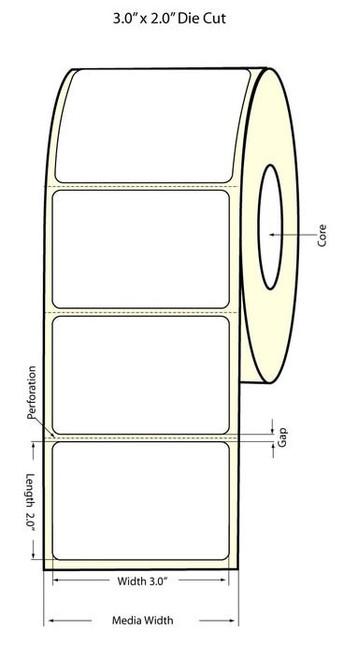 "TM-C3500 3"" x 2""(1A) High Gloss Paper Label 565/Roll (811015)"