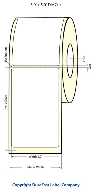 "TM-C3500 3"" x 5"" (1A) Matte BOPP Label 230/Roll (814016)"