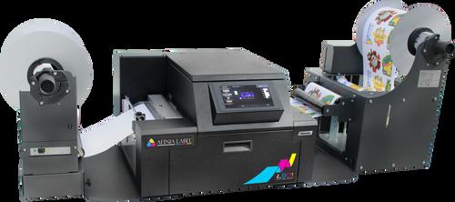 finia XL Unwinder & Rewinder shown with the Afinia L901 printer