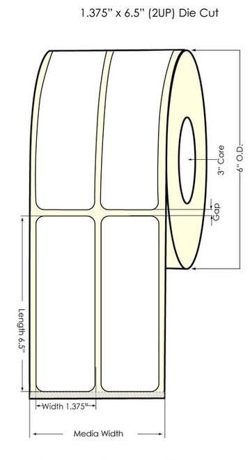 """L801 1.375"""" x 6.75"""" NP Glossy BOPP Labels 750/Roll (934058)"""